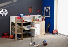 Lit Combiné Enfant 90x200 Ilyan - Lit combiné avec bureau extractible, nombreux rangements et une armoire, le lit idéal pour les petites chambres ! #LitEnfant #LitCombiné #DécoChambre