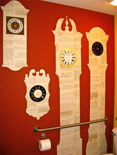 Blown up photos of old clocks, made into giant stencils and painstakingly cut out these clock forms. Using wallpaper paste to attach to the wall, then old clock faces and hands added to the effect.