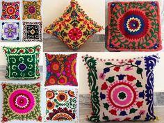 Wholesale Lot Of 20 Pcs Suzani Embroidered Cushion Cover Uzbek Pillow Covers Sofa Pillows, Floor Pillows, Cushion Covers, Pillow Covers, Kantha Quilt, Quilts, Embroidered Cushions, Cotton Bedding, Vintage Cotton