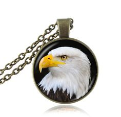 Vintage Jewelry White and Black Eagle Pendant Necklace Glass Cabochon Animal Choker Bird Necklaces Art Picture Eagle Jewelry
