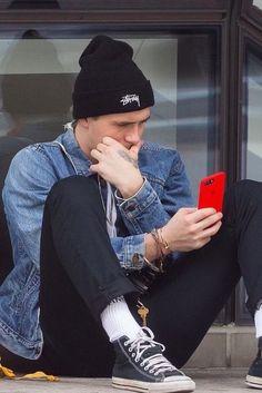 Brooklyn Beckham wearing Stüssy Cuff Beanie, Vans Crew Socks, Converse Chuck Taylor All Star Core Hi