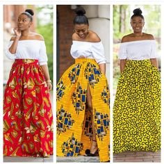 Look Fabulous In New Ankara Skirt Magazine. New Ankara Skirt Styles are a staple in every woman's wa African Wear Dresses, African Fashion Ankara, African Print Fashion, African Attire, African Outfits, African Prints, Ankara Skirt, Maxi Skirts, Ankara Blouse