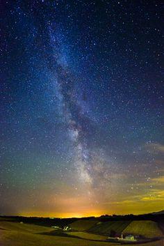 Starry night in Biei, Hokkaido, Japan