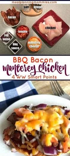 Everybody loves this ingredient combination: Chicken, barbecue sauce, red onion, tomato, and Colby-Monterey Cheese. Just 4 Weight Watcher FreeStyle smart points!