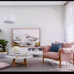Modern casual living room with blush colored chair