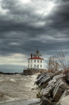 The lighthouse at Headlands Beach State Park on Lake Erie.