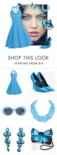 """""""Sky Blue"""" by dobesht ❤ liked on Polyvore featuring Balenciaga, Versace and Humble Chic"""