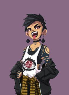Punk Girl by Trung Nguyen on ArtStation. Arte Punk, Punk Art, Emo Art, Character Design Girl, Character Design Inspiration, Oc Drawings, Cute Drawings, Drawings Of Girls, Girls Characters