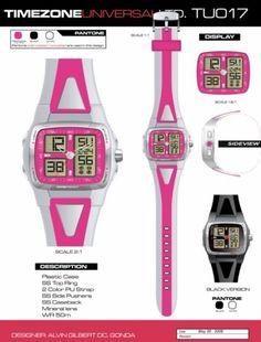 Time Zone Universal  LTD. Watches  designed by: Alvin Gilbert Dc. Gonda  abugonda@yahoo.com Design Development, Plastic Case, 2 Colours, Digital Watch, Pantone, Industrial Design, Behance, Graphic Design, Watches