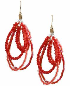 Haskell Gold-Tone Red Bead Drop Earrings