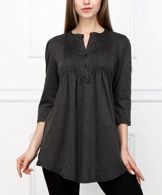 Another great find on #zulily! Charcoal Pin Tuck Notch Neck Tunic #zulilyfinds