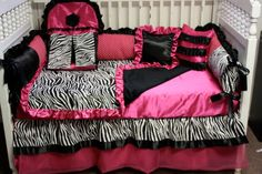 7 pc Custom made silk hot pink zebra baby bedding set- WOW free personalized pillow. $499.00, via Etsy.