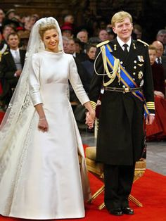 Royal Wedding of Prince Willem-Alexander of The Netherlands and Argentinian Máxima Zorreguieta, Royal Wedding Gowns, Royal Weddings, Wedding Dresses, Queen Of Netherlands, Valentino Gowns, Wedding Dress Patterns, Hollywood Wedding, Royal Brides, Civil Ceremony