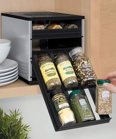 Spice cabinet for short people like me lol plus a great space saving storage solution Look at this YouCopia Silver Original SpiceStack Organizer on today! Cabinet Spice Rack, Spice Storage, Hidden Storage, Fridge Storage, Toy Kitchen, Kitchen Pantry, Kitchen Ideas, Kitchen Organization, Organization Hacks