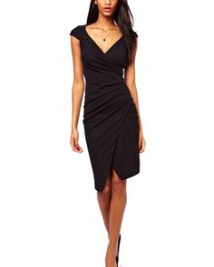 Cheap dress summer, Buy Quality vestidos plus directly from China vestido casual Suppliers: Womens Plus Size Work Knee Length Dress Black/Blue Ruched Wrap Sexy Ladies Office Midi Dresses Summer 2017 vestido casual Vestido Dress, Vestido Casual, Dress Skirt, Sheath Dress, Slit Dress, Robe Bodycon, Sammy Dress, Mode Outfits, Club Dresses