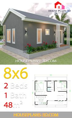 House Design Plans with 2 Bedrooms - House Plans - Home Design 2 Bedroom House Plans, Beach House Plans, Cottage House Plans, Country House Plans, Tiny House Plans, House Floor Plans, 2 Bedroom House Design, House Construction Plan, Simple House Plans