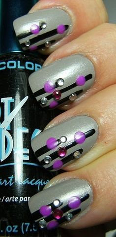 Lines with bling and dot accents. Could do this with hex glitter or other shapes. #nailart
