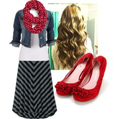 cute summer modest outfits, red shoes