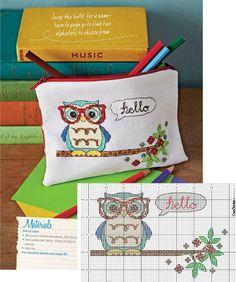 Kanaviçe Şemaları: Kanaviçe Baykuşlu kalemlik modeli Embroidery Stitches, Embroidery Patterns, Cross Stitch Owl, Polka Dot Fabric, Bag Accessories, Needlework, Diy And Crafts, Projects To Try, Coin Purse