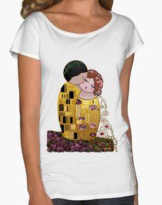 Camiseta cuello pico Kokeshi El Beso estilo Klimt