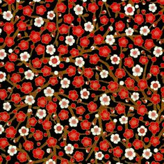 Chiyogami - Red & White Plum Blossoms on Black (papermojo)