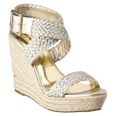 Mossimo Pam Rope Wedge w/Braided Straps in gold.  I love a metallic sandal in the summer!  These are great because they can be dressed up or down.  (I have seen these in person and will say that this picture does not really do them any justice.  They are quite a lovely shoe!)