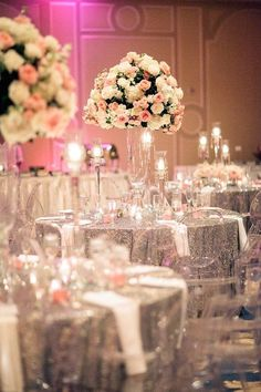 Featured Photographer: Nancy Aidee Photography; pink ballroom wedding reception idea