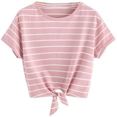 Romwe Women's Knot Front Cuffed Sleeve Striped Crop Top Tee T-Shirt (41 RON) ❤ liked on Polyvore featuring tops, t-shirts, stripe tee, striped crop top, striped top, pink crop top and knot front tee