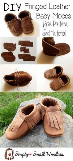 pattern for fringed leather baby moccasins Baby Moccasin Pattern, Baby Shoes Pattern, Shoe Pattern, Moccasins Pattern, Leather Diy Crafts, Leather Projects, Leather Craft, Leather Gifts, Sewing For Kids