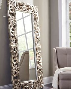 Exquisitely crafted for any glamour queen in your home, The Lucia Floor Mirror is a splendid accent. Antique silver finish brings life to the ornate scroll design Dimensions X X Furniture Direct, Home Furniture, Furniture Market, Furniture Outlet, Furniture Stores, Cheap Furniture, Furniture Ideas, Furniture Design, Molduras Vintage