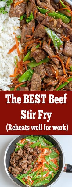 The best beef stir fry, with carrots and peas this stir fry reheats perfectly fo. The best beef stir fry, with carrots and peas this stir fry reheats perfectly for work lunches and you an customize it to your liking. dinner recipes for family Stir Fry Recipes, Beef Recipes, Salad Recipes, Cooking Recipes, Healthy Recipes, Recipies, Beef Lo Mein Recipe, How To Cook Beef, Beef Stir Fry