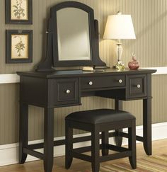 New Home Styles Bedford Black Vanity Table Bench Mirror, Center Drawer, Two Outer Drawers, Brushed Nickel Hardware online - Annetrendyfashion Style At Home, Black Vanity Table, Table Mirror, Vanity Bench, Vanity Tables, Diy Vanity, Vanity Area, Black Table, Bedroom Vanity Set