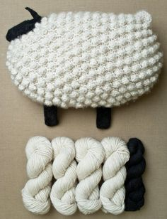 Yarn for Bobble Sheep Pillow from Purl Soho Knitting Patterns Free, Knit Patterns, Free Pattern, Knitting Projects, Crochet Projects, Knitting Ideas, Purl Bee, Purl Soho, Yarn Crafts