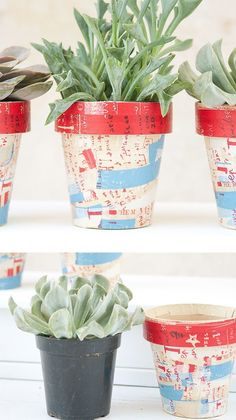 Graffiti paper mache pots are the way to go when you are trying to give your room that edge.These fun pots are perfect for holding all sorts of odds and ends and can even be used to prettily display plants! Succulent Favors, Succulent Pots, Succulents, Craft Tutorials, Craft Ideas, Diy Ideas, Camping Crafts, Clay Pots, So Little Time