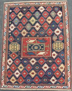 Caucasian Shirvan Kuba Rug with unusual design and proportions (original), 56x43 inches (142x109 cm), late 19th Century