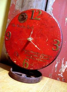 Old Tobacco Tin turned into a clock: This would be neat with any number of collectible tins.  The lid is the face of the clock so the tin itself hides the clock mechanism.  Cool funky junk!!  (via JunkMarket Style)