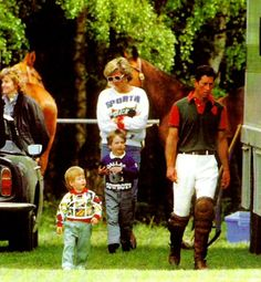 Charles and Diana at polo with their sons 1987
