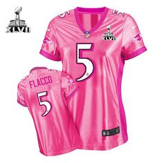 Women\s Nike Baltimore Raven\s http://#5 Joe Flacco Elite Pink New Women\s Be Luvd With Super Bowl Patch Jersey