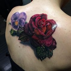Hyperrealism Rose Tattoo on Back by John Barrett