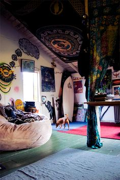 * hippie room bedroom design boho surf bohemian surfboard surfer chillout