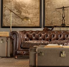 Brown leather tufted couch. Old maps on the wall. OKAY SO I NEED TUFTS IN MY LIFE.