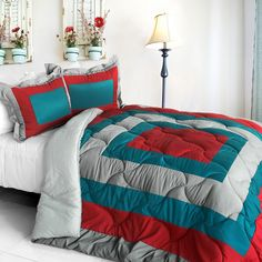 [Loving the Sea] Quilted Patchwork Down Alternative Comforter Set (Full/Queen Size)