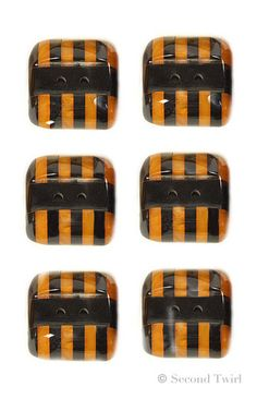 Vintage Black and Butterscotch Striped Bakelite Buttons