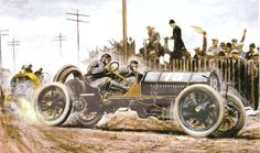 Carlo Demand's Painting of Harry Grant in an Alco Won the Vanderbilt Cup Races on Long Island in 1909 and 1910