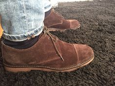 Brown Suede Derby Shoes for Men, Made in Italy, Ofanto Italy, on blue denim