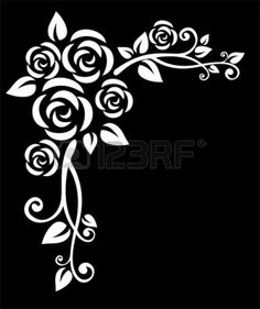 Stylized white floral border with rose on a black background. Vector Stylized white floral border with rose on a black background. Stencil Rosa, Rose Stencil, Stencil Art, Stencil Patterns, Stencil Designs, Paint Designs, Embroidery Patterns, Quilling Patterns, Stencil Printing