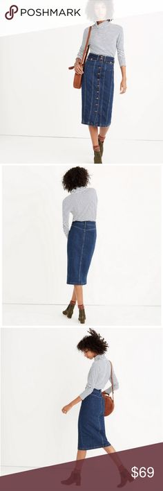 MADEWELL Denim Seamed Button Up Front Jean Skirt MADEWELL Women's Sz 30 Denim Seamed Button Up Front Jean Straight Pencil Skirt Condition: Excellent pre-owned condition. No flaws. Size on Tag: 30 Measurements: Waist (in) - 31 Length (in) - 29 Madewell Skirts Midi