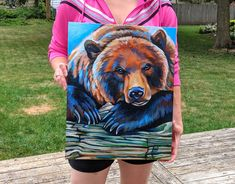 Pet and Wildlife Portrait Artist and Muralist of Crystal Lake Illinois. Bear Paintings, Wildlife Paintings, Canvas Paintings, Canvas Art, Oil Painting Techniques, Acrylic Painting Tutorials, Cow Art, Bear Art, Paint Party