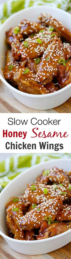 Slow Cooker Honey Sesame Chicken Wings – crazy delicious chicken wings in a sticky savory honey sesame sauce. 10 mins prep time & dinner is ready! | rasamalaysia.com