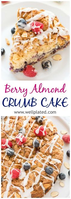 The BEST almond berry crumb cake! A moist, fluffy coffee cake topped with buttery streusel crumbs and packed with fresh blueberries and raspberries! Healthy Cake Recipes, Dessert Cake Recipes, Sweets Cake, Delicious Desserts, Cupcake Cakes, Cupcakes, Fruit Recipes, Baking Recipes, Easy To Make Desserts
